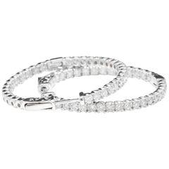 2.85 Carat Natural Diamond 14 Karat Solid White Gold Hoop Earrings