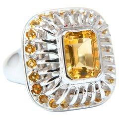 2.85 Carat Natural Yellow Citrine Ring 14 Karat Grill Dome