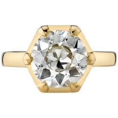2.85 Carat Old European Cut Diamond Set in an 18 Karat Yellow Gold Ring