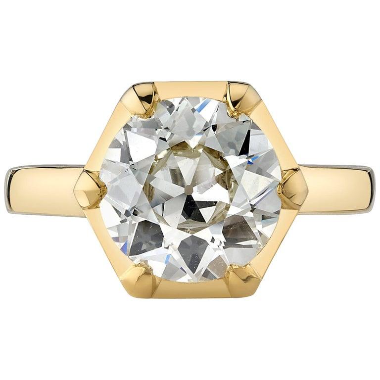 2.85 Carat Old European Cut Diamond Set in an 18 Karat Yellow Gold Ring For Sale