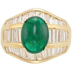 2.85 Carat Oval Cabochon Emerald and Diamond Ring