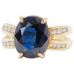 2.85 Carat Oval Cut Sapphire 14 Karat Gold Engagement Ring with Diamonds