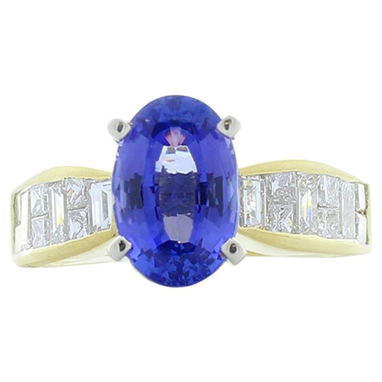 2.85 Carat Oval Tanzanite and Diamond Cocktail Ring