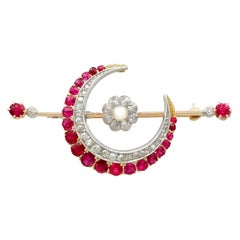 2.85 Carat Ruby Diamond Pearl Gold Crescent Brooch