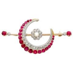 2.85 Carat Ruby Diamond Pearl Gold Crescent Brooch