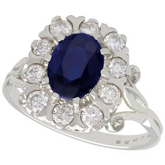 2.85 Carat Sapphire and Diamond White Gold Cocktail Ring