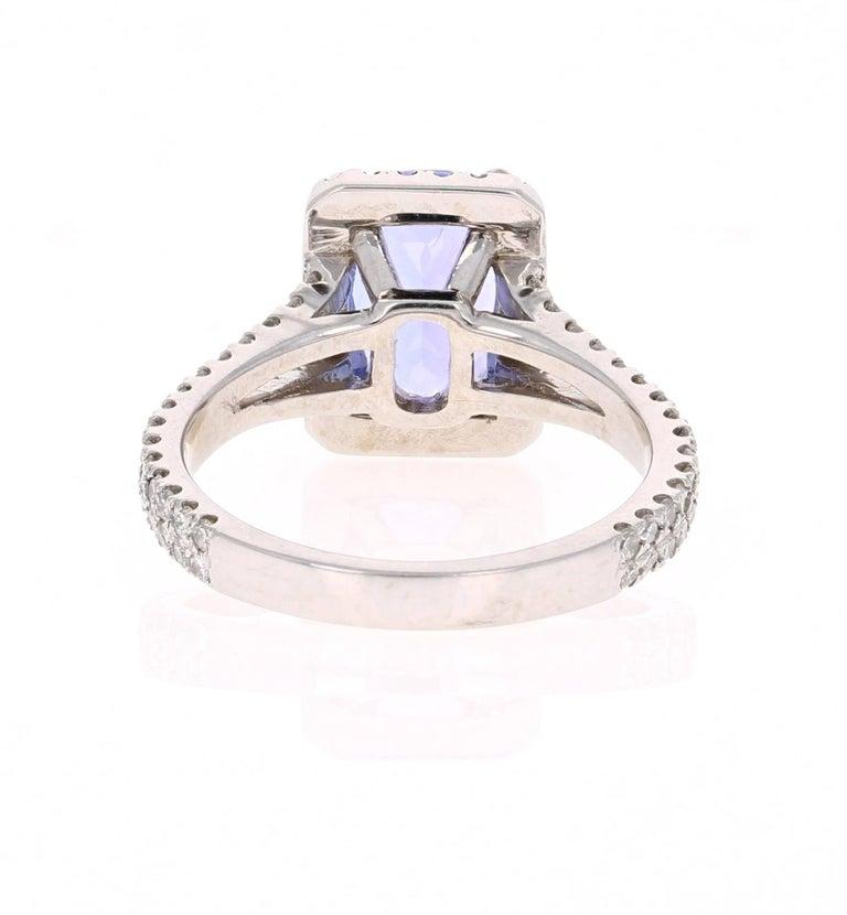 2.85 Carat Tanzanite Diamond Cocktail White Gold Ring In New Condition For Sale In San Dimas, CA