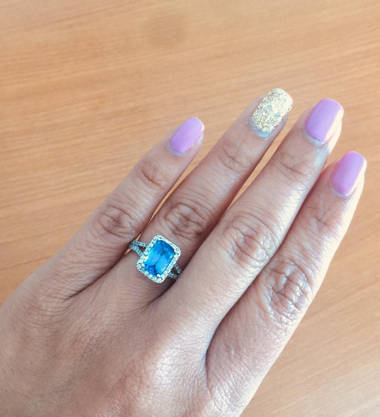 2.85 Carat Tanzanite Diamond Cocktail White Gold Ring For Sale 1