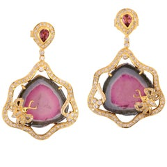 28.55 Carat Tourmaline Diamond 18 Karat Gold Earrings