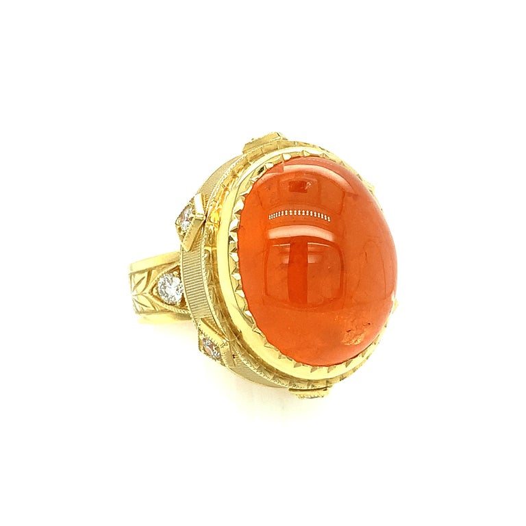 28.55 ct. Spessartite Garnet Cabochon, Diamond Yellow Gold Bezel Dome Ring In New Condition For Sale In Los Angeles, CA
