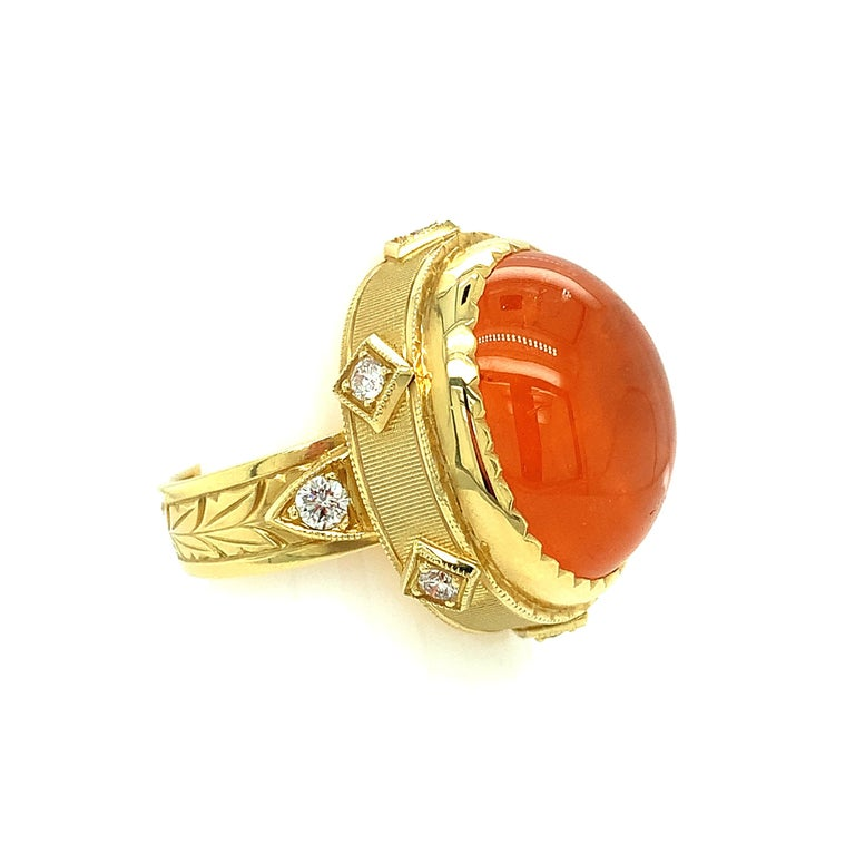 28.55 ct. Spessartite Garnet Cabochon, Diamond Yellow Gold Bezel Dome Ring For Sale 1