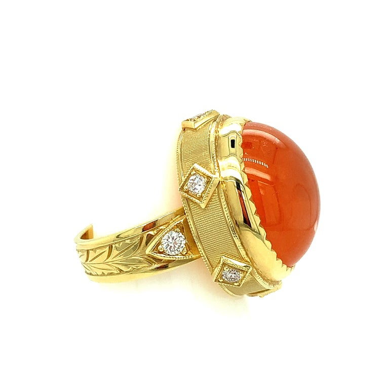28.55 ct. Spessartite Garnet Cabochon, Diamond Yellow Gold Bezel Dome Ring For Sale 2