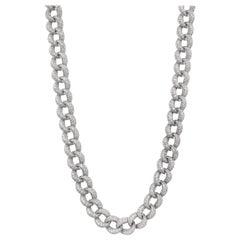 28.57 Carat Long Diamond Cuban Link Necklace 18 Karat White Gold