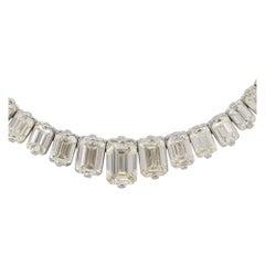 28.58 Carat Emerald Cut Graduating Necklace 18 Karat in Stock