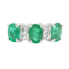 2.85ct Natural Emerald & Diamond 14k Solid White Gold Ring