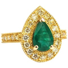 2.85ct Natural Pear Brilliant Emerald diamond ring 14kt G/Vs +Fancy Yellows
