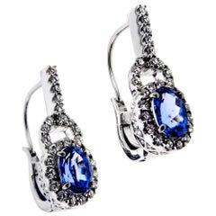 2.86 Carat Blue Tanzanite and 1.24 Carat White Diamond Earrings