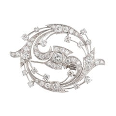 2.86 Carat Diamond Swirl Platinum Gold Pendant Brooch
