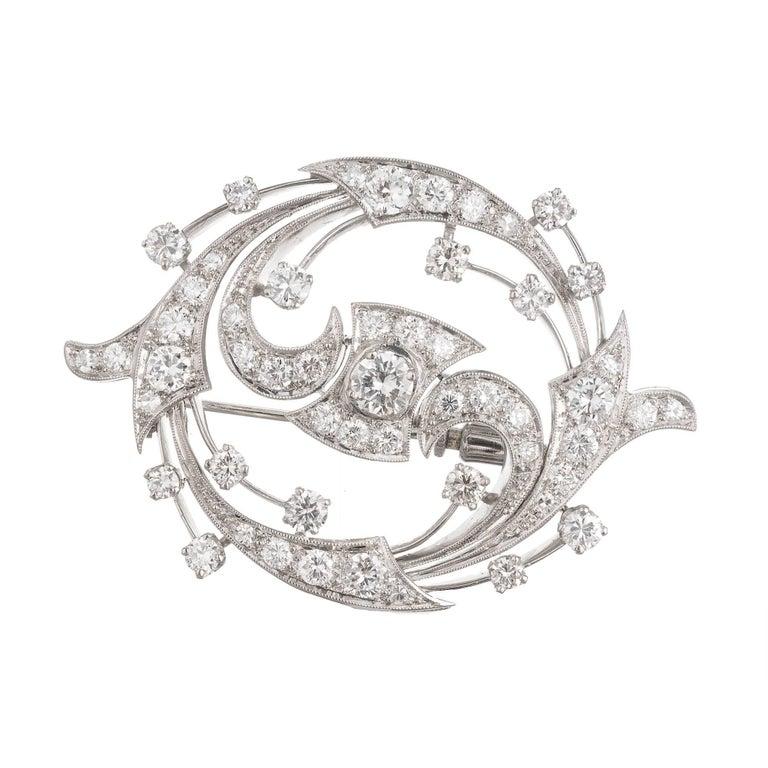 2.86 Carat Diamond Swirl Platinum Gold Pendant Brooch