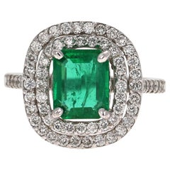 2.86 Carat Emerald Diamond 14 Karat White Gold GIA Certified Ring