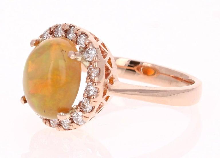 Modern 2.86 Carat Opal Diamond 14 Karat Rose Gold Cocktail Ring For Sale