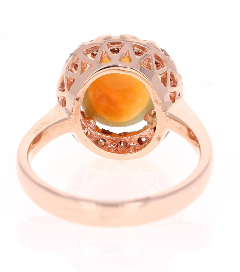 Oval Cut 2.86 Carat Opal Diamond 14 Karat Rose Gold Cocktail Ring For Sale