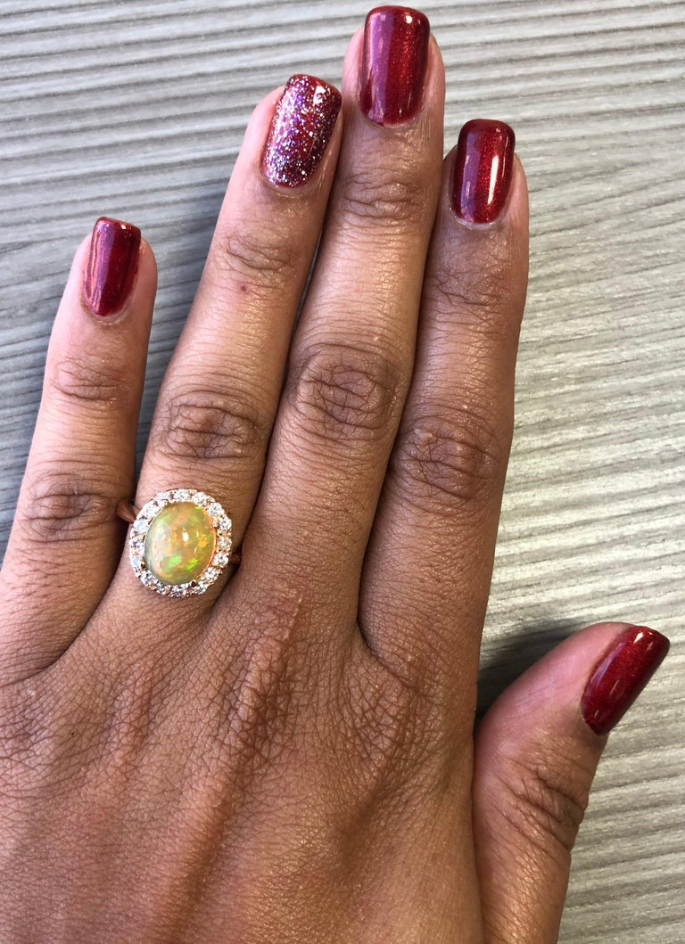 2.86 Carat Opal Diamond 14 Karat Rose Gold Cocktail Ring In New Condition For Sale In San Dimas, CA