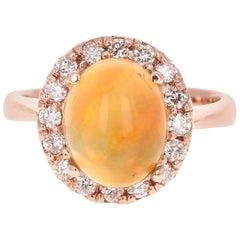 2.86 Carat Opal Diamond 14 Karat Rose Gold Cocktail Ring