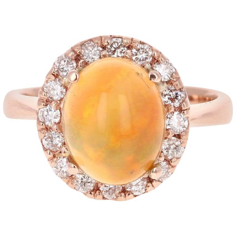 2.86 Carat Opal Diamond 14 Karat Rose Gold Cocktail Ring For Sale
