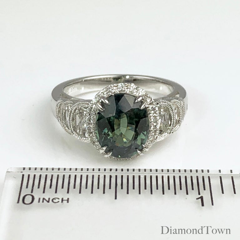 Oval Cut GIA Certified 2.86 Carat Oval Unheated Forest Green Sapphire and Diamond Ring For Sale