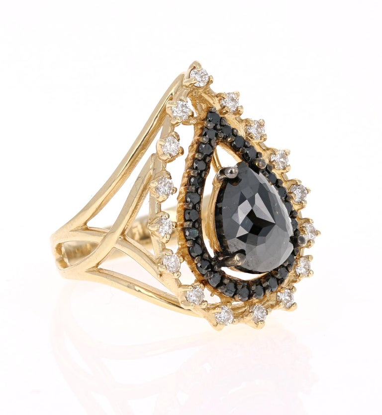 Victorian 2.86 Carat Pear Cut Black Diamond Yellow Gold Cocktail Ring For Sale
