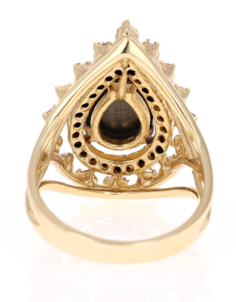 Women's 2.86 Carat Pear Cut Black Diamond Yellow Gold Cocktail Ring For Sale