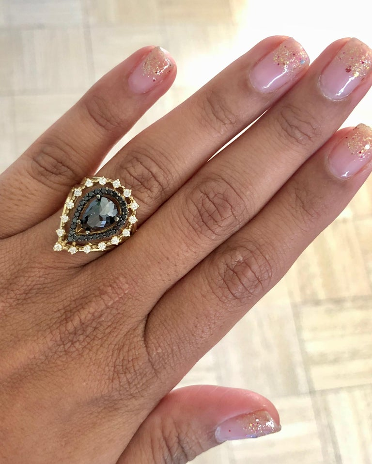 2.86 Carat Pear Cut Black Diamond Yellow Gold Cocktail Ring For Sale 1