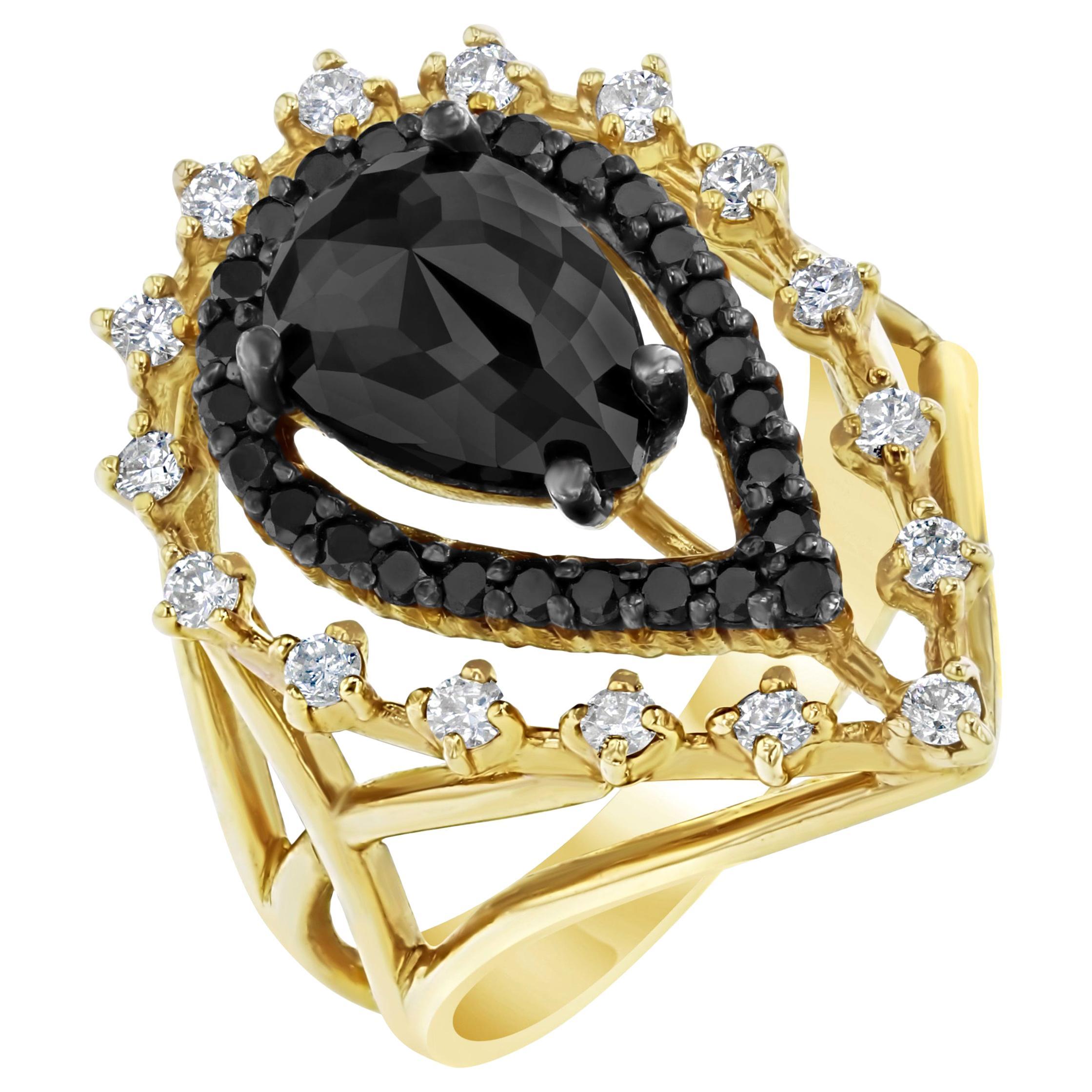 2.86 Carat Pear Cut Black Diamond Yellow Gold Cocktail Ring