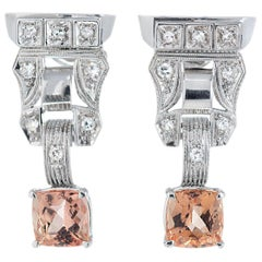 2.86 Carat Pink Orange Precious Topaz Diamond Gold Dangle Earrings