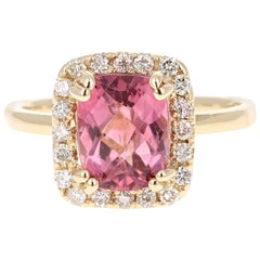 2.86 Carat Tourmaline Diamond 14 Karat Yellow Gold Ring