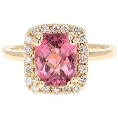 2.86 Carat Tourmaline Diamond 14 Karat Yellow Gold Ring