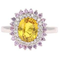 2.86 Carat Yellow Sapphire Diamond 14 Karat White Gold Ring