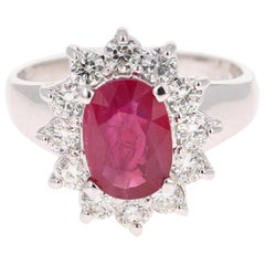 2.86 Oval Cut Ruby Diamond 14 Karat White Gold Ballerina Ring