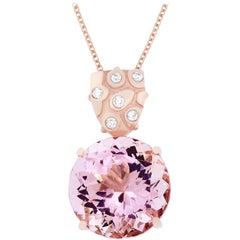 28.64 Carat Round Pink Morganite and Diamond Pendant