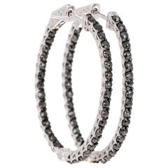 2.87 Carat Black Diamond 14 Karat White Gold Hoop Earrings