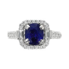 2.87 Carat Blue Sapphire Diamond Halo Platinum Engagement Ring