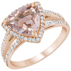 2.87 Carat Morganite Diamond 14 Karat Rose Gold Halo Ring
