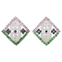2.87 Carat Multi-Color Sapphire and Diamond Plaque Huggie Earrings in White Gold