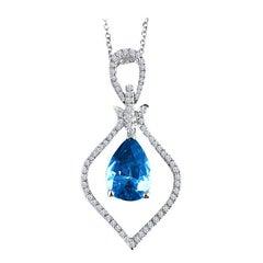 2.87 Carat Pear Shaped Blue Zircon and Diamond Pendant