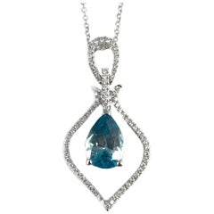 2.87 Carat Pear Shaped Blue Zircon and Diamond Pendant in 18 Karat White Gold