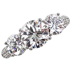 2.87 Carat Three-Stone Diamond Engagement Ring GIA Certified Diamonds