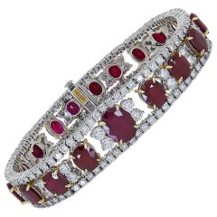 28.70 Carat Burmese Ruby and Diamond Bracelet