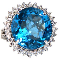 28.70ct Natural Prime Swiss Blue Topaz Diamonds Ring 14kt 1.70ct Halo Cluster