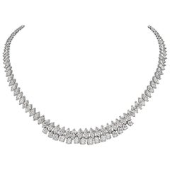 28.72 Carat Marquise and Pear Shape Diamond 18 Karat Gold Necklace